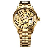 abordables Winner-WINNER Hombre Reloj de Pulsera / El reloj mecánico Huecograbado Acero Inoxidable Banda Lujo Dorado / Cuerda Automática
