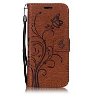 Недорогие Чехлы и кейсы для Galaxy S8-Кейс для Назначение SSamsung Galaxy S8 S7 edge Бумажник для карт Кошелек со стендом Флип Рельефный Магнитный Чехол Сплошной цвет Бабочка