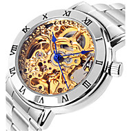 Dames mechanische horloges Skeleton horloge Modieus horloge Automatisch opwindmechanisme Waterbestendig Legering Band Zilver Roze