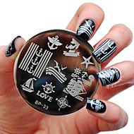 cheap Nails & Hair-BORN PRETTY Sailors & Sea Sailing Theme Nail Art Stamp Template Image Plate BP33 Nail Stamping Plates Set