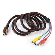 5 Voeten HDMI Male ingang naar 3 RCA Plug Video Audio AV-kabel Adapter Converter Connector, Duurzaam (Zwart, 1.5M)