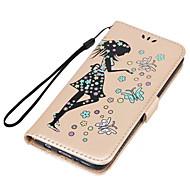 Недорогие Чехлы и кейсы для Galaxy S8 Plus-Кейс для Назначение SSamsung Galaxy S8 Plus S8 Бумажник для карт со стендом Флип Рельефный Чехол Соблазнительная девушка Сияние и блеск