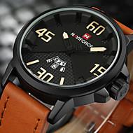 Недорогие Фирменные часы-NAVIFORCE Муж. Спортивные часы Армейские часы Наручные часы Японский Кварцевый 30 m Календарь Творчество Cool PU Группа Аналоговый Роскошь На каждый день Мода Черный / Коричневый -