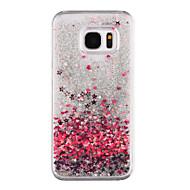 Недорогие Чехлы и кейсы для Galaxy S7 Edge-Кейс для Назначение SSamsung Galaxy S8 Plus S8 Движущаяся жидкость Прозрачный С узором Кейс на заднюю панель С сердцем Сияние и блеск