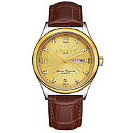 KINGNUOS 남성용 패션 시계 손목 시계 독특한 창조적 인 시계 캐쥬얼 시계 석영 달력 천연 가죽 밴드 멋진 캐쥬얼 창의적 럭셔리 우아한 브라운