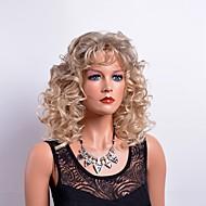 Vrouw Synthetische pruiken Middel Gekruld Blond Met pony Natuurlijke pruik Kostuumpruik