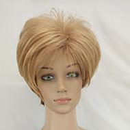 Kvinder Syntetiske parykker Lokkløs Kort Rett Blond Mørke røtter Naturlig hårlinje Lagvis frisyre Naturlig parykk costume Parykker