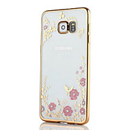 Недорогие Чехлы и кейсы для Galaxy S7-Кейс для Назначение SSamsung Galaxy S8 Plus S8 Стразы Покрытие С узором Кейс на заднюю панель Цветы Мягкий ТПУ для S8 Plus S8 S7 edge S7