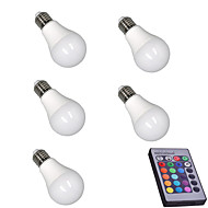 cheap LED Smart Bulbs-5pcs 5W 400lm E26 / E27 LED Smart Bulbs A60(A19) 15 LED Beads SMD 5050 Dimmable Decorative Remote-Controlled RGBW 85-265V