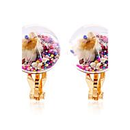 Жен. Застежка серег Клипсы серьги шарика Цветочный дизайн Цветы Круг Цветочный принт Мода Rock Multi-Wear способы Радужный Резина В форме