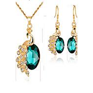 저렴한 -여성용 신부 보석 세트 합성 에메랄드 합성 다이아몬드 패션 이벤트/파티 일상복 도금 골드 합금 동물