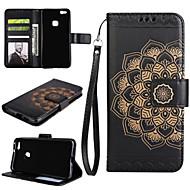 preiswerte Handyhüllen-Hülle Für Huawei P9 Lite / Huawei / Huawei P8 Lite Geldbeutel / Kreditkartenfächer / mit Halterung Ganzkörper-Gehäuse Mandala Hart PU-Leder für P10 Plus / P10 Lite / P10