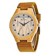 お買い得  -男性用 ファッションウォッチ 腕時計 ウッド 日本産 クォーツ 木製 PU 本革 バンド チャーム Elegant カーキ