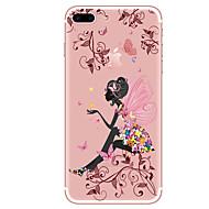 Недорогие Кейсы для iPhone 8-Кейс для Назначение Apple iPhone X iPhone 8 iPhone 8 Plus Прозрачный С узором Кейс на заднюю панель Бабочка Соблазнительная девушка Цветы