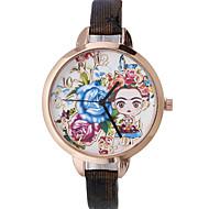 Mujer Reloj de Moda Reloj de Pulsera Cuarzo Piel Banda Flor Bohemio Negro Rojo Marrón Dorado Azul marino Rose