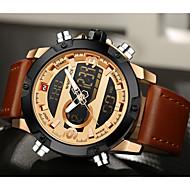 Недорогие Фирменные часы-NAVIFORCE Муж. Спортивные часы Календарь / Секундомер / Защита от влаги Кожа Группа Роскошь / На каждый день / Мода Черный / Коричневый / ЖК экран / С двумя часовыми поясами / Фосфоресцирующий