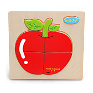 cheap Toys & Hobbies-Jigsaw Puzzle Wooden Puzzles Educational Toy Toys Cat Apple Cherry Cartoon Other Fruit Wood Unisex Pieces