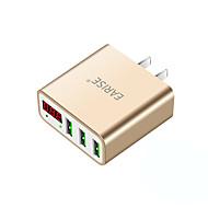 Φορτιστής USB 3 Θύρες Σταθμός φορτιστή γραφείου Με έξυπνη ταυτοποίηση Οθόνη LCD Παγκόσμιο Φορτιστής προσαρμογέα