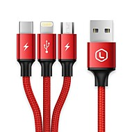 USB 2.0 Kabel, USB 2.0 to USB 2.0 Typ C Micro USB 2.0 Lightning Kabel Male - Male 1.2m (4Ft)