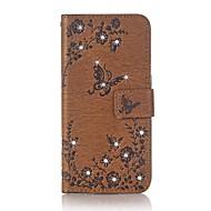 Недорогие Чехлы и кейсы для Galaxy Core Prime-Для чехлов держатель карты держатель кошелек горный хрусталь с подставкой флип тиснением полный корпус корпус бабочка цветок твердый кожа