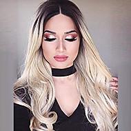 Недорогие Парики из искусственных волос-Парики из искусственных волос Без шапочки-основы Длиный Волнистые Блондинка Парик из натуральных волос Карнавальные парики