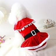 abordables Disfraces de Navidad para mascotas-Gato Perro Disfraces Abrigos Vestidos Navidad Ropa para Perro Un Color Rojo Felpa Algodón / Mezcla de Lino Disfraz Para mascotas Fiesta