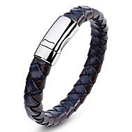 Herre Geometrisk Manchetarmbånd Læder Armbånd - Læder, Titanium Stål Vintage, Mode Armbånd Sort / Brun / Blå Til Daglig Afslappet