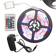 billiga -5m 300x2835led strip light set vattentät rgb 24 tangentkontroll ac100 240v au eu us uk strömkontakt dc12v 2a