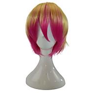 Kvinder Syntetiske parykker Lokkløs Kort Rett Gullrosa Ombre-hår Cosplay-parykk Festparykk costume Parykker