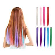klip egy darabban hajhosszabbítás szintetikus 9 szín 22 inch egyenes rózsaszín zöld lila kék szőke vörös haj darab