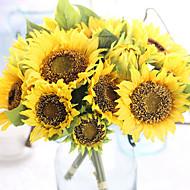 abordables Flores Artificiales-Flores Artificiales 7 Rama Europeo Girasoles Flor de Mesa