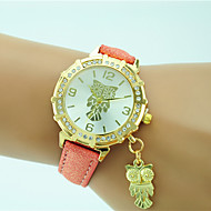 Недорогие Женские часы-Жен. Наручные часы Модные часы Кварцевый Стразы Кожа Группа На каждый день Сова Черный Белый Синий Оранжевый Зеленый Золотистый Розовый