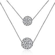 女性用 レイヤードネックレス キュービックジルコニア 円形 純銀製 ジルコン セクシー 多層式 ジュエリー 用途 祭り