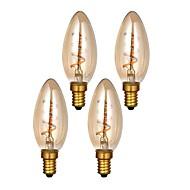 お買い得  -ONDENN 4本 3W 300lm E14 フィラメントタイプLED電球 C35 1 LEDビーズ COB 調光可能 温白色 220-240V
