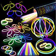 voordelige Woonbenodigdheden-100 glow stick party pack - 100 gemengde kleuren 8 premium glowsticks met connectoren om armbanden glazen bloemenballen en meer te maken -
