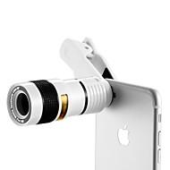 universal, 5 en 1 caso clip de 0.65x gran angular& Ojo 180 ° peces& 8 veces la lente del telescopio establecido para el teléfono