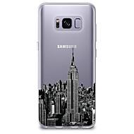 Недорогие Чехлы и кейсы для Galaxy S8 Plus-Кейс для Назначение SSamsung Galaxy S8 S7 Ультратонкий Прозрачный С узором Кейс на заднюю панель Вид на город Мягкий ТПУ для S8 Plus S8