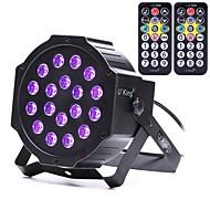 abordables Luces LED Para Escenarios-u'king zq-b194b-yk2 18 * 1w leds color morado automático dmx sonido activado iluminación par etapa con 2 control remoto para discoteca