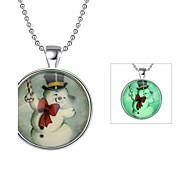 Недорогие Новогодние украшения-Жен. Круглый Светящийся С подсветкой Ожерелья с подвесками Акрил Светящийся камень Ожерелья с подвесками , Рождество