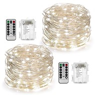 cheap LED String Lights-2Pack Fairy String Lights Battery Operated Waterproof 8 Modes 100LED 10M Copper Wire Firefly Lights Remote Control