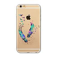 Недорогие Кейсы для iPhone 8 Plus-Кейс для Назначение Apple iPhone X iPhone 8 Прозрачный С узором Кейс на заднюю панель  Перья Мягкий ТПУ для iPhone X iPhone 8 Pluss