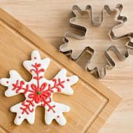 baratos -Cortador de bolachas de flocos de neve de Natal Bolo de biscoito de aço inoxidável Molde de fundas