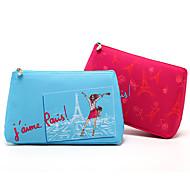 bolso de almacenamiento cosmético colorido del maquillaje del bolso del embrague de la torre eiffel de la historieta colorida 2 color