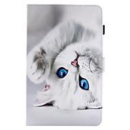 billige Galaxy Tab A 9.7 Etuier-Etui Til Samsung Galaxy Tab A 9.7 Tab A 8.0 Kortholder Med stativ Flip Magnetisk Mønster Fuldt etui Kat Hårdt PU Læder for Tab E 9.6 Tab