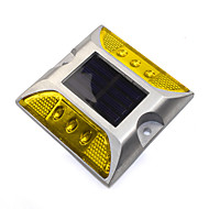 1PCS Aluminum Solar 6-LED Outdoor Road Driveway Dock Path Ground Light Lamp Yellow