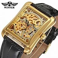 お買い得  -WINNER 男性用 リストウォッチ 機械式時計 手巻き式 30 m 透かし加工 ステンレス バンド ハンズ ヴィンテージ カジュアル ブラック - ゴールド シルバー