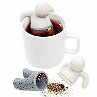 olcso Konyha, ebédlő-1db aranyos mr.tea táska teáskanna szilikon tea levél szűrő infuser táska teáskannát szűrő drinkware kis ember alakja