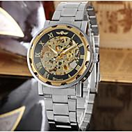 WINNER Férfi Ruha óra Karóra mechanikus Watch Automatikus önfelhúzós Üreges gravírozás Rozsdamentes acél Zenekar Luxus Vintage Alkalmi