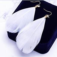 preiswerte -Damen Böhmische / überdimensional Blattform Tropfen-Ohrringe - Böhmische / überdimensional Weiß / Blau / Rosa Feder Ohrringe Für Alltag /