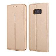 Недорогие Чехлы и кейсы для Galaxy S7-Кейс для Назначение SSamsung Galaxy S8 Plus S8 Бумажник для карт Кошелек Флип Чехол Сплошной цвет Твердый Настоящая кожа для S8 Plus S8